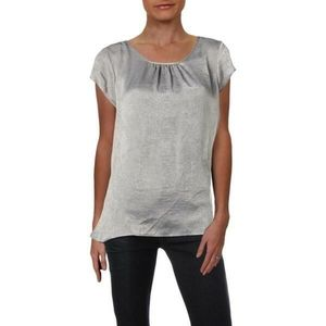 NY Collection Gray Satin Short Sleeve Top Large
